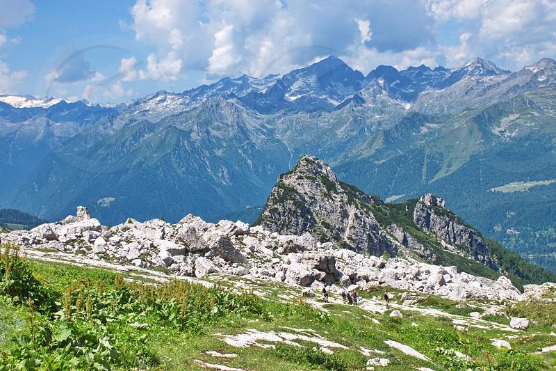 Scenic view of rocky landscape in Brenta Dolomites Italy photo
