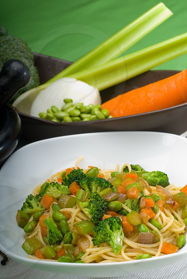 italian spaghetti pasta with fresh homemade vegetable sauce photo