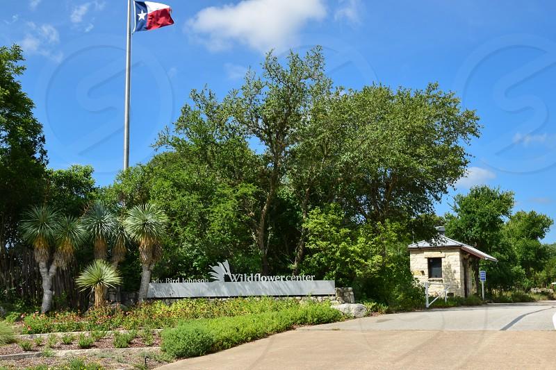 Exterior shot of entrance to Lady Bird Johnson Wildflower center in Austin Texas photo