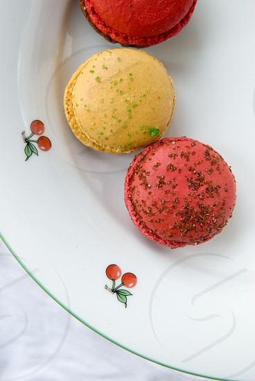 Macarons on the plate photo