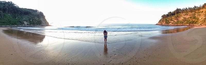 Beach girl Asturias Spain photo