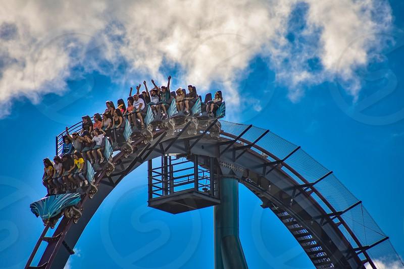 Orlando Florida. December 26 2018. People enjoying amazing rollercoaster ride at Seaworld in International Drive area (5) photo
