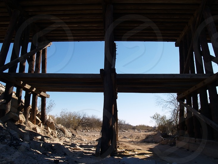 A view from under an old Railroad bridge in a remote area of Arizona. photo