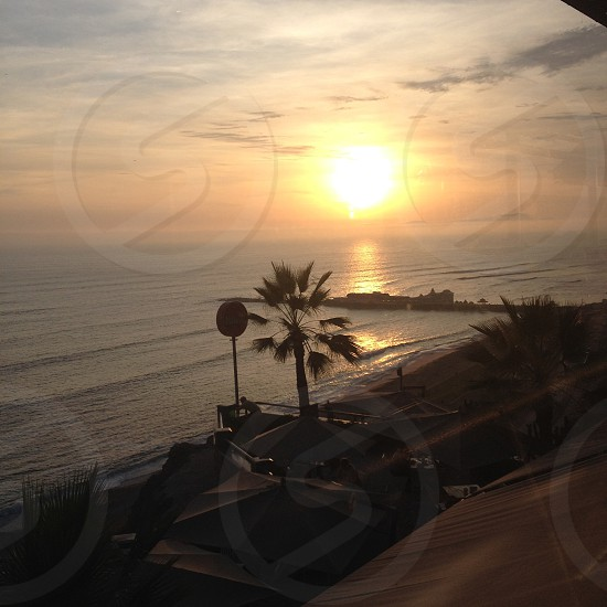 A Sunset on the coast of Lima Peru photo