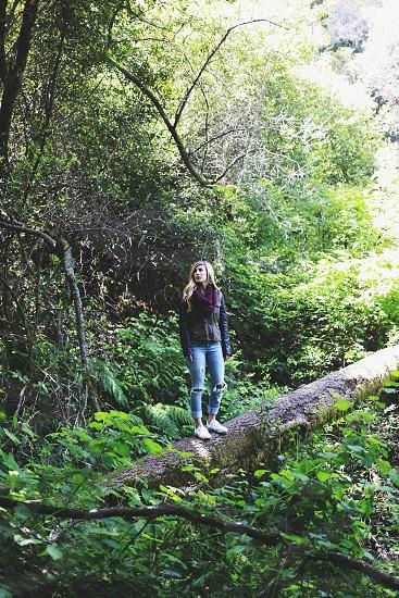 woman standing on fallen tree photo