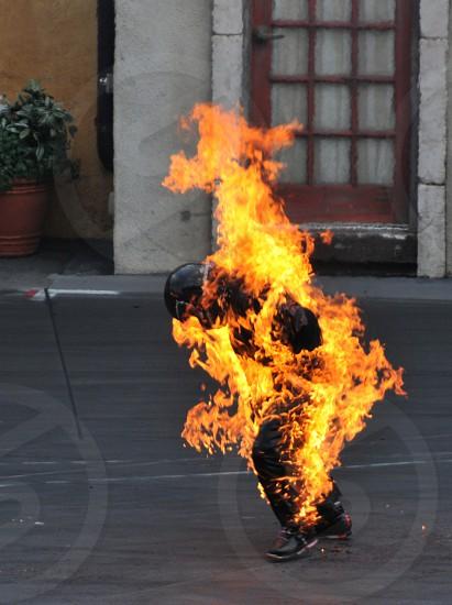 Stunt actor on fire photo
