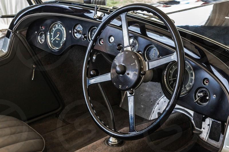 Cockpit of an Old Alvis Car photo