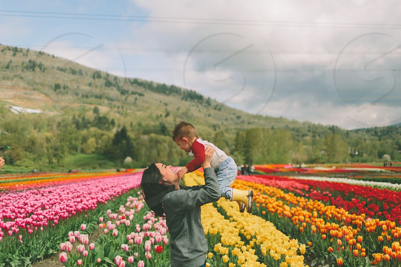 A mother lifting her son into the air in a field of tulips.  photo