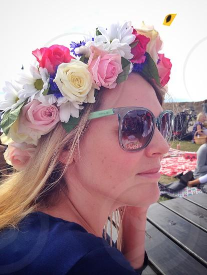 Midsummer flowers headdress female lady summer sun sunglasses photo