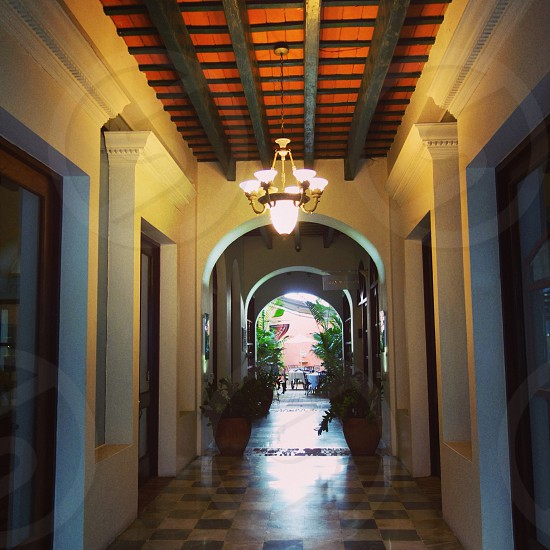 An amazing open house area of a large house in Old San Juan Puerto Rico. photo