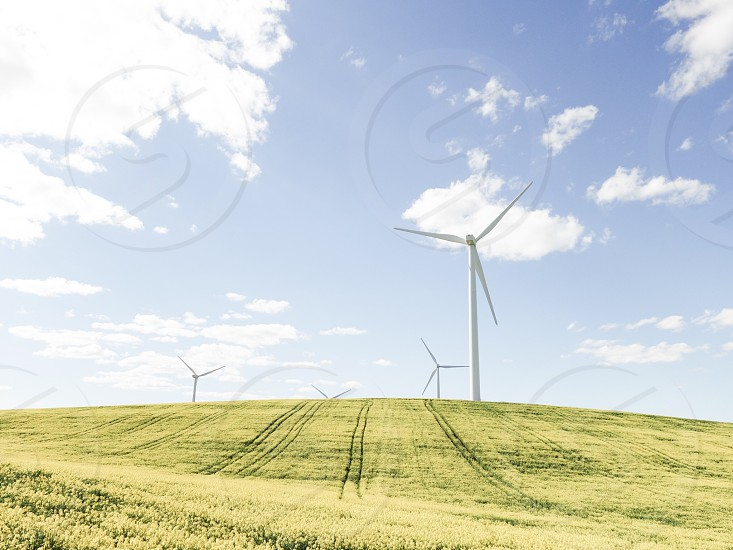 wind turbine on grass field photo