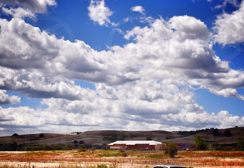 white puffy clouds  photo