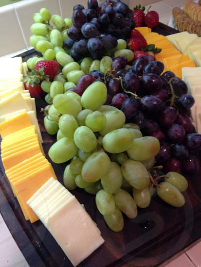 green and purple grapes cheese platter photo