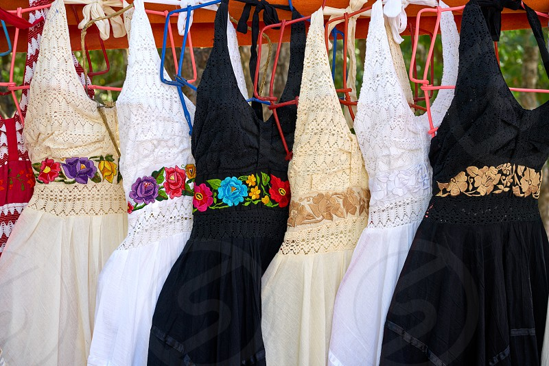 Chichen itza embroided dresses in outdoor shop Mexico Yucatan photo