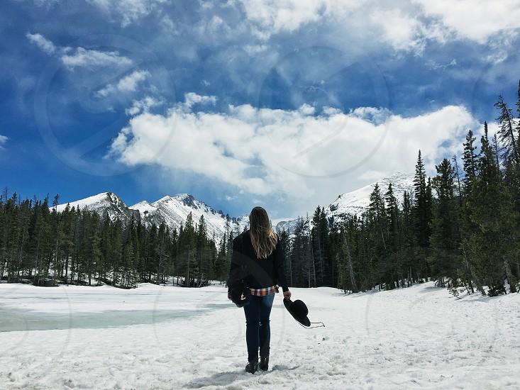 Rocky Mountain National park snow winter Mountain cold girl photo