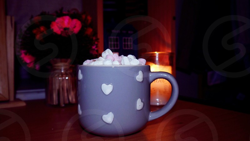 Hot chocolate hearts mug warm marshmallows decor photo
