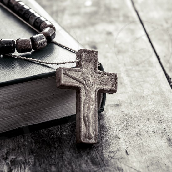wooden cross on a wooden surface  photo