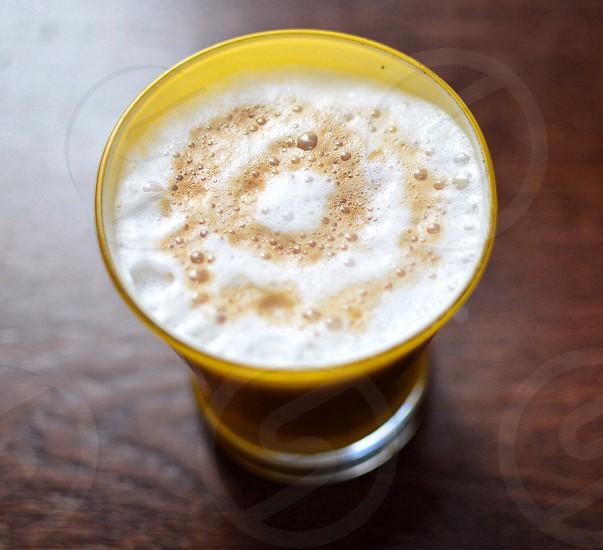 closeup photo of a coffee foam photo