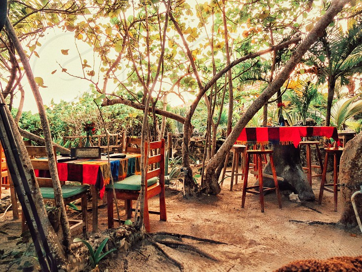 Small desolate restaurant on the beach at the end of the long dirt road Ambergris Caye BZ photo