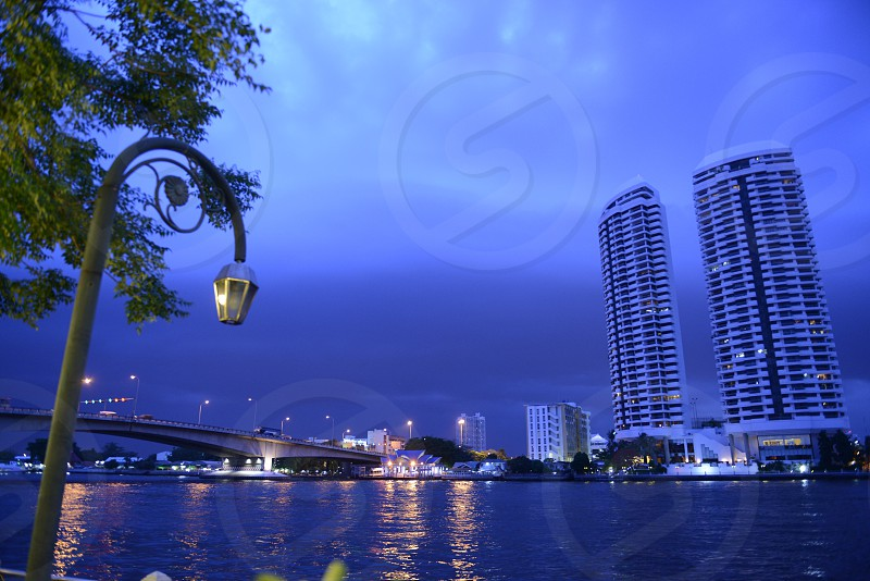 a appartment house at the Mae Nam Chao Phraya river in the city of Bangkok in Thailand in Suedostasien. photo