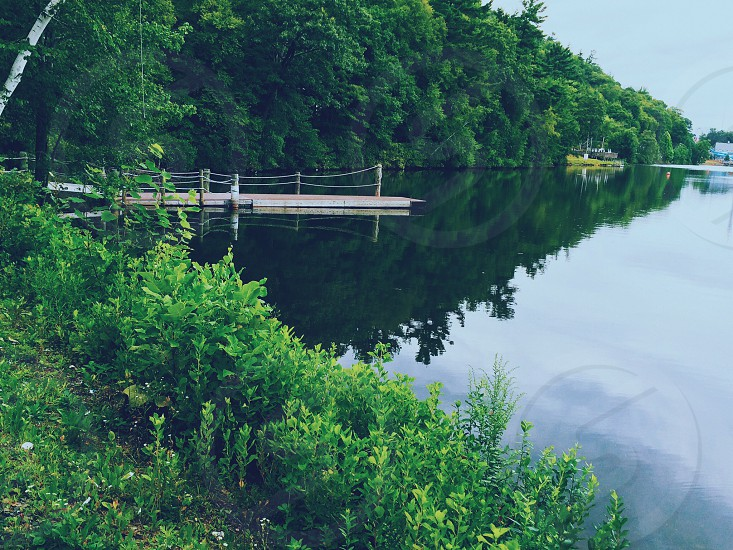 grey wooden lake dock with calm water photo