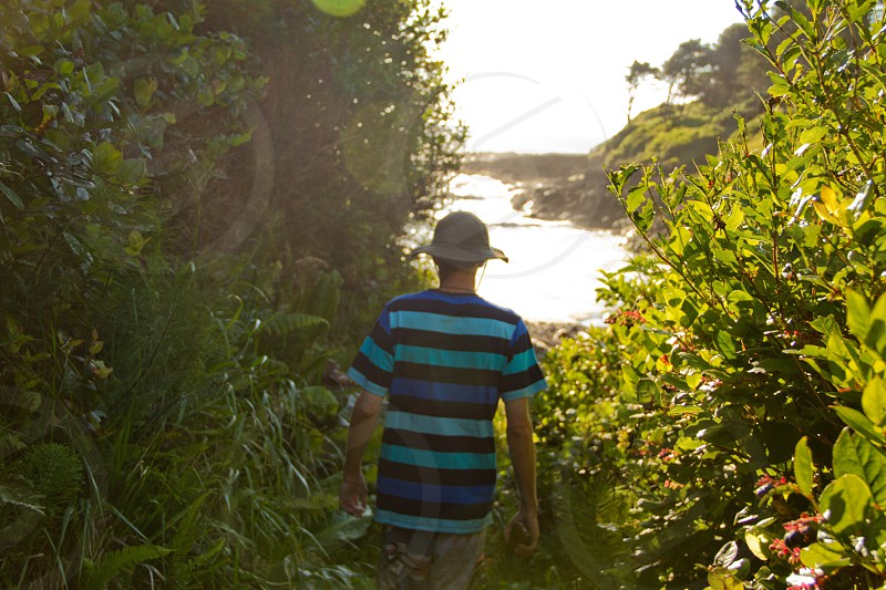 man in blue and black striped t shirt and tan bucket hat walking through foliage towards the beach photo