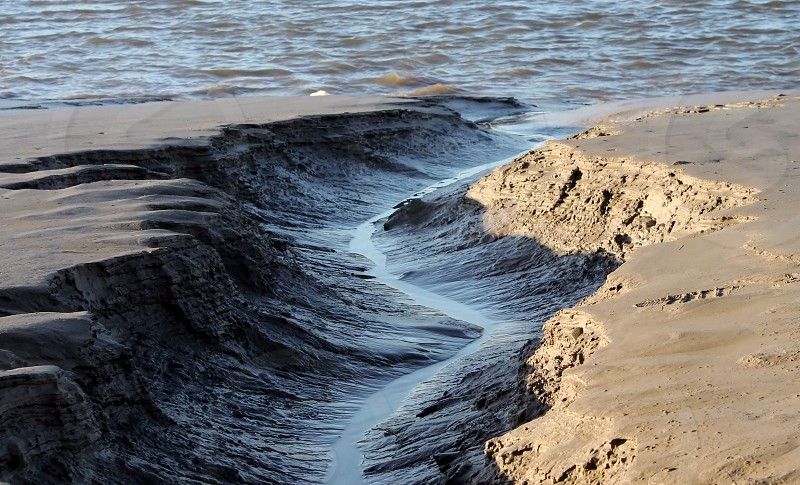 The dangerous quick sand and mud of the river Kent Estuary at Arnside Lancashire England photo