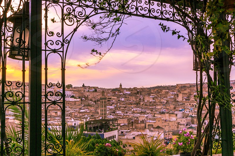 Magical sunset window in Fez Morocco  photo