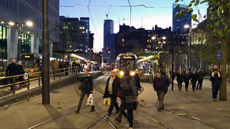 MANCHESTER. St. Peters Square. One of the main interchanges on the city's tram network is busy with shoppers and workers on and  early Saturday evening.   photo