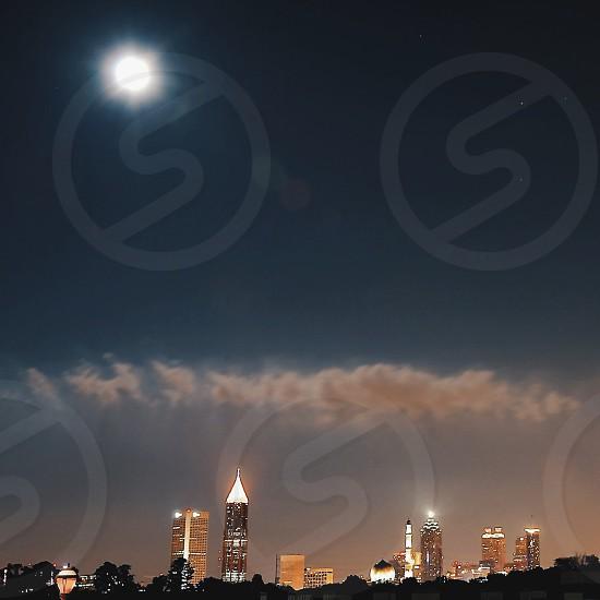 Atlanta skyline during the July 2014 Supermoon. photo
