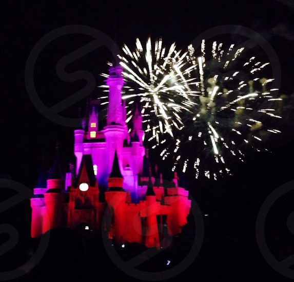 Disney World fireworks display at the Disney castle in Orlando Florida USA photo