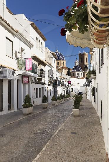Street of the pretty village of Altea in the province of Alicante Spain. photo