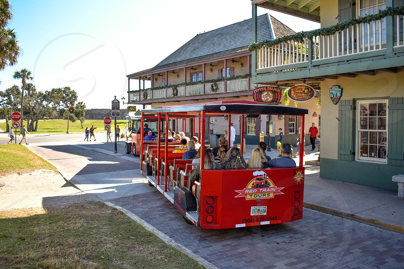 St. Augustine Florida. January 26  2019 . Red Train Tour at Old Town in Florida's Historic Coast. photo