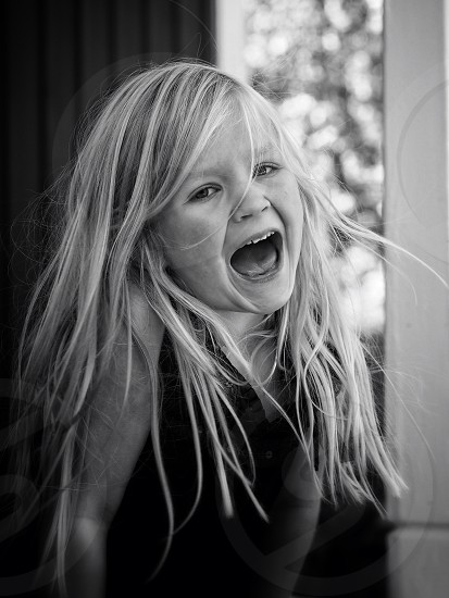 Singing happy girl child kid photo