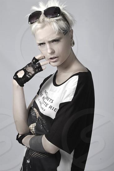 Portrait Beautiful Studio Sunglasses Gloves Tattoos  photo
