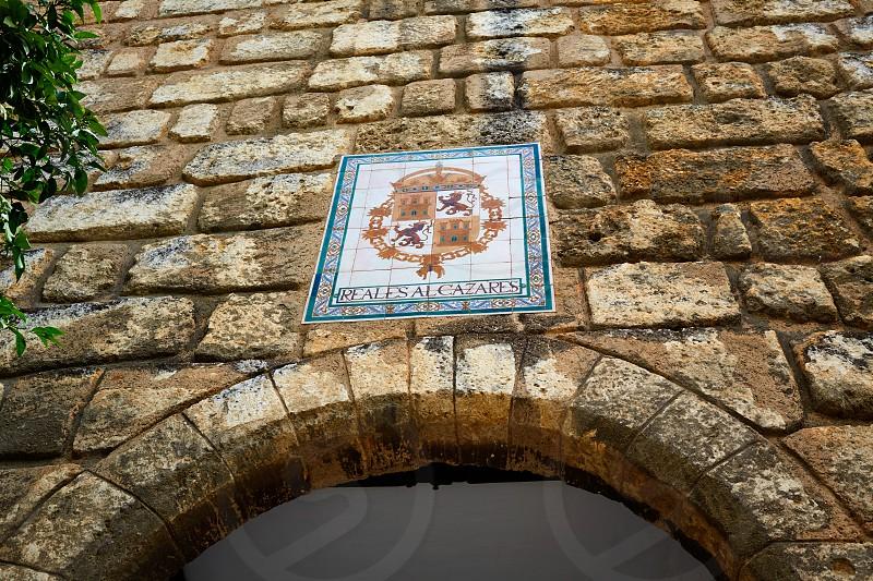 Seville patio Banderas Real alcazar arch door in Sevilla Andalusia spain photo