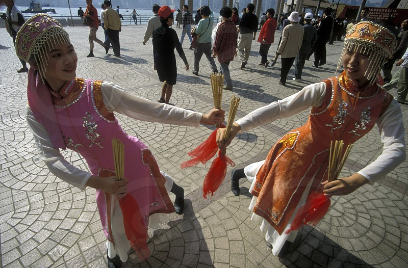 Traditional Women at the Chinese newyear in Hong Kong in the south of China in Asia. photo