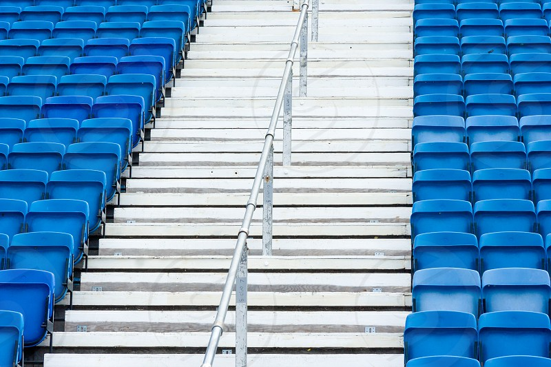 empty blue seats and stairs - Scotland - Edinburgh. photo