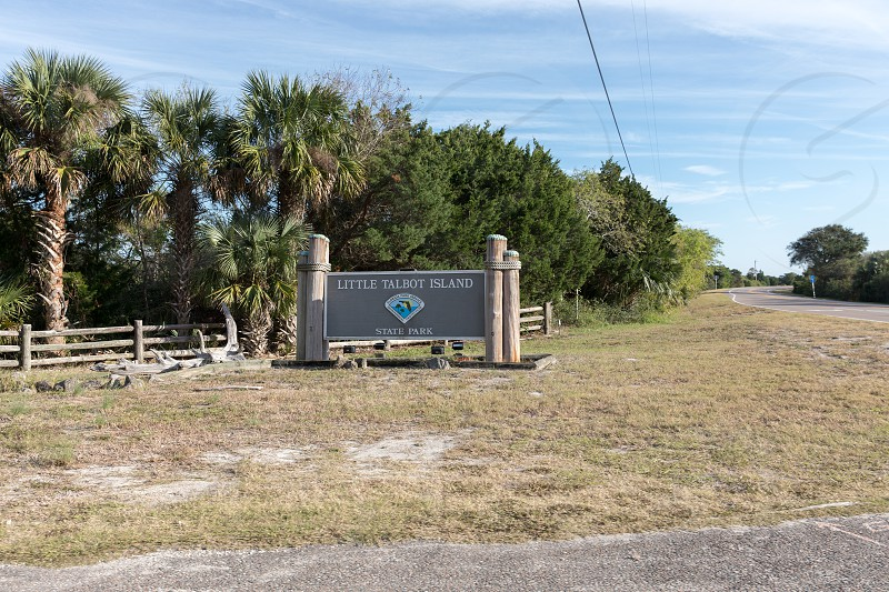 The entrance sign to Little Talbot Island State Park in Jacksonville Florida photo