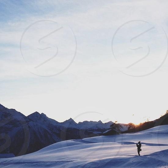 mountain snow view photo