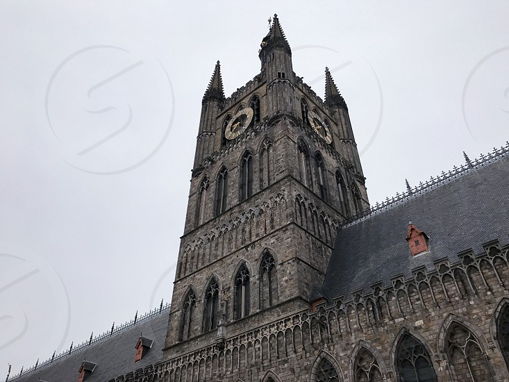 Outdoor day colour landscape horizontal Cloth Hall Museum Somme WWI WW1 World War One First World War Ypres Ypres Salient Belgium Europe European gothic style architecture stone sculpture carving masonry building spire tower masonry stone work photo