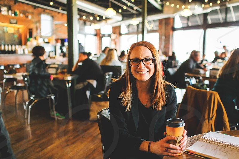 business woman at a coffee shop photo