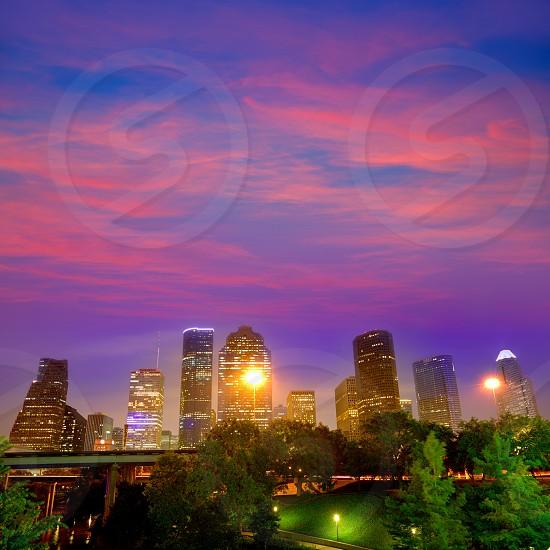 Houston skyline at sunset west downtown Texas USA US America photo