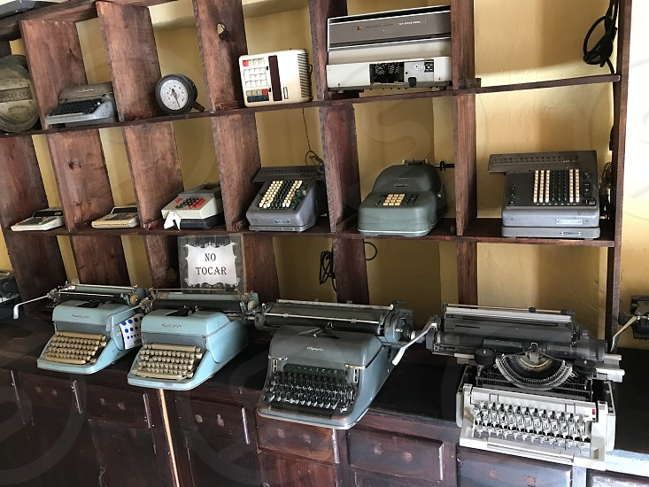 Typewriters machines antique numbers accounted old vintage objects museums  photo