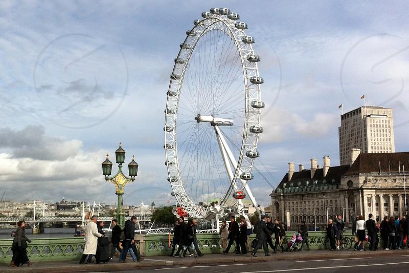 The iconic London Eye United Kingdom.  photo