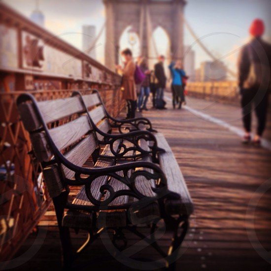 Bench on brooklyn bridge  photo