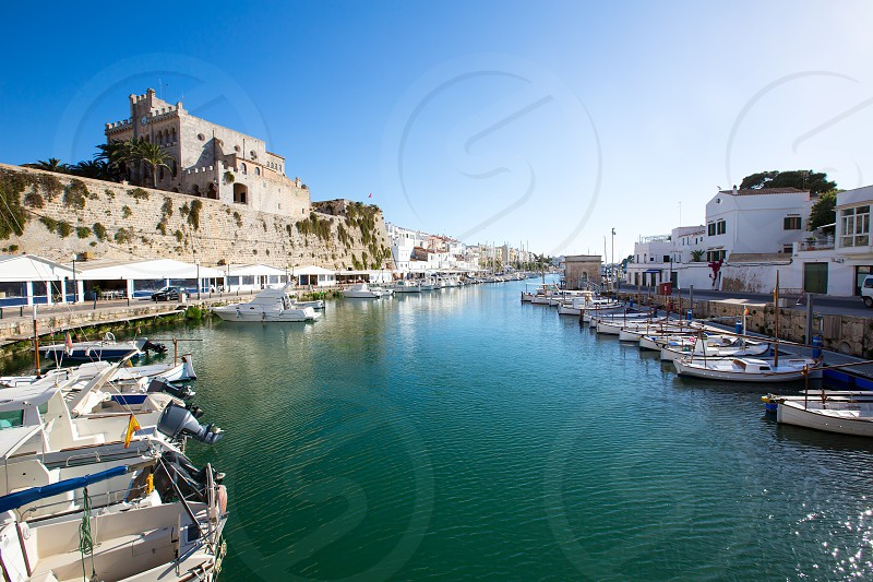 Ciutadella Menorca marina Port view and Ayuntamiento Town hall Balearic Islands photo