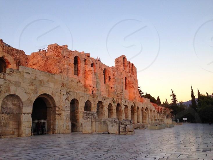 Theatre at the Acropolis outside facade Athens Greece  photo