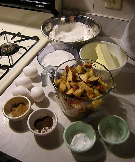 Ingredients for apple bread photo