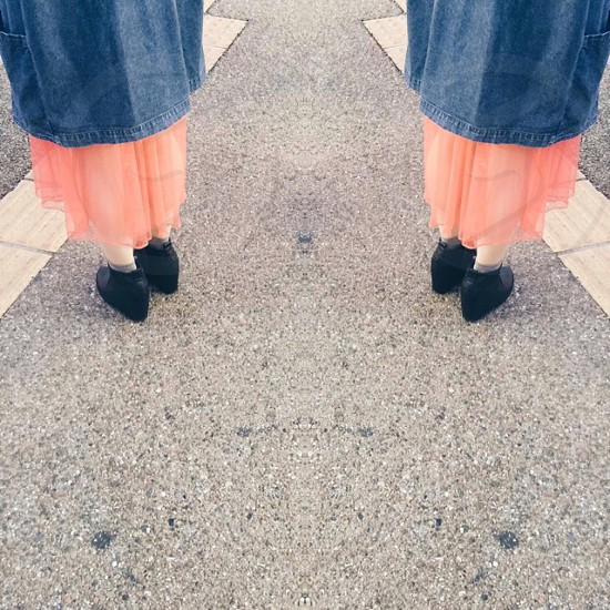 girlchiffonorangehipsterheelssurrealfashionstreet photo